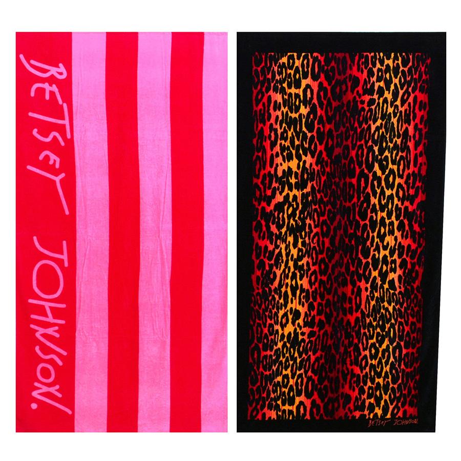 Beach Towel Betsey Johnson Cabana Stripe Leopard Stripe