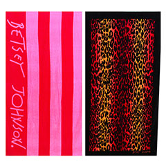 Betsey Johnson Cabana Stripe & Leopard Stripe Beach Towel Set