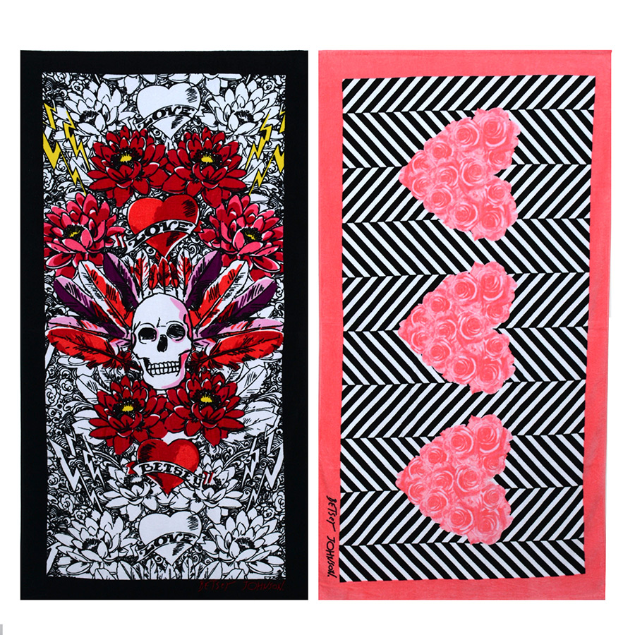Betsey Johnson Rose Heart and Tribal Skull Beach Towel Set from ...