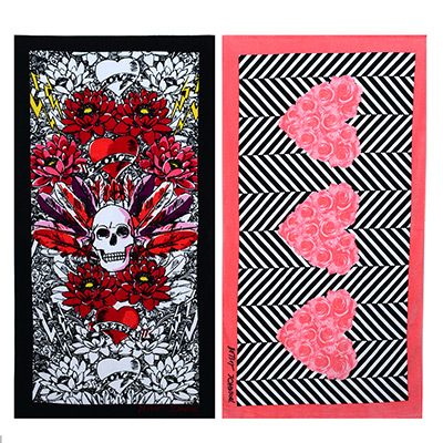 Betsey Johnson Rose Hearts & Tribal Skull Beach Towel Set
