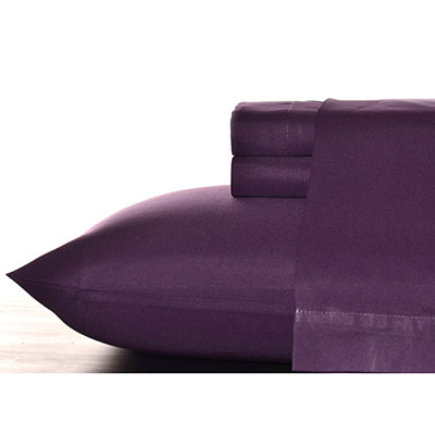 Perry Ellis Plum Solid Sheet Set