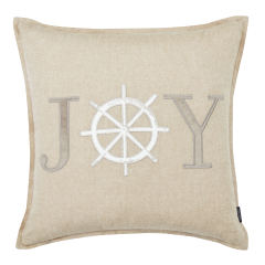 Joy Applique Yarn Dyed Decorative Pillow