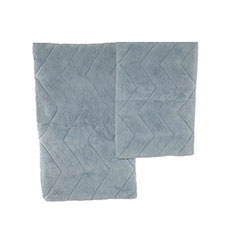 Aegean Blue Chevron Bath Rug Set