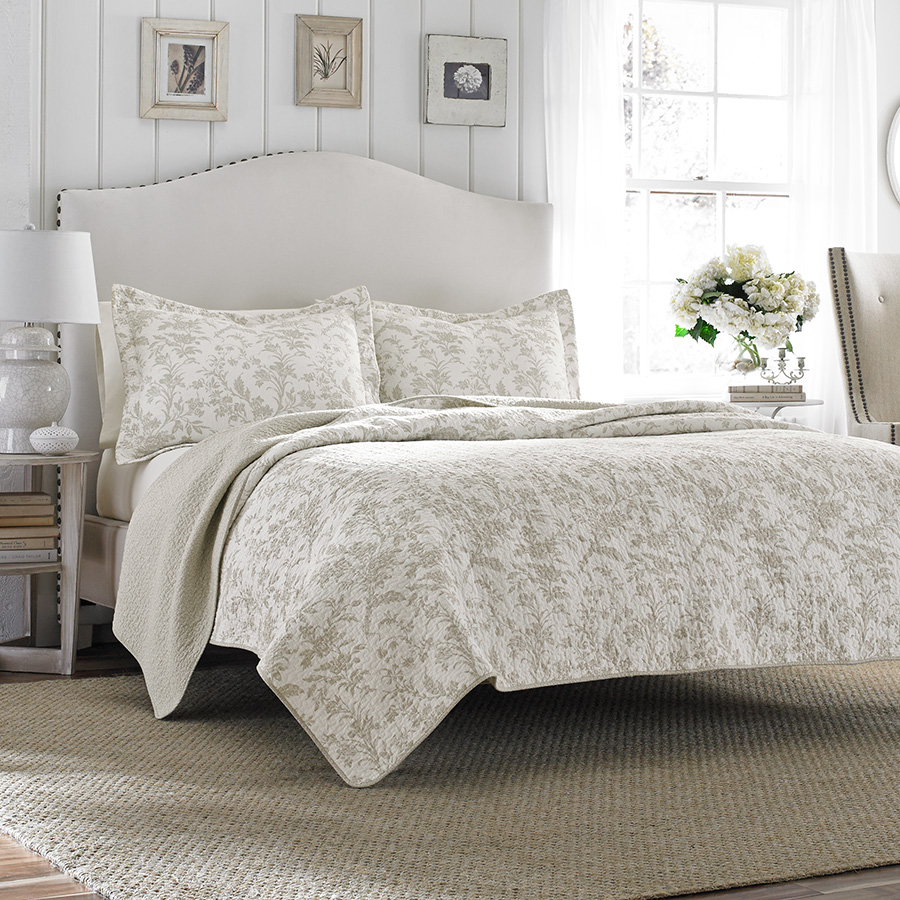 Laura Ashley Amberley Biscuit Quilt Set From