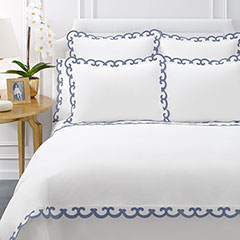 AERIN Applique Scallop Blue Duvet Cover
