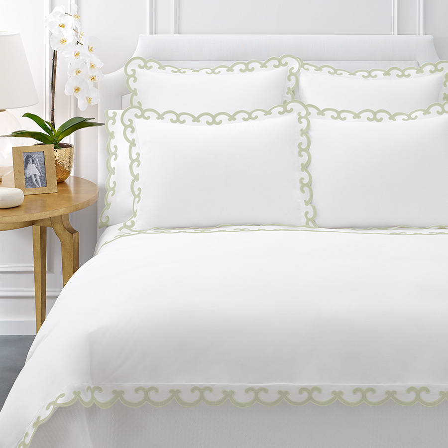 Queen Duvet Cover AERIN Scallop Green
