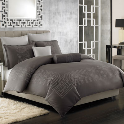 Grey  White Bedding on Full Queen Duvet  Nicole Miller Argos Pewter  Grey White