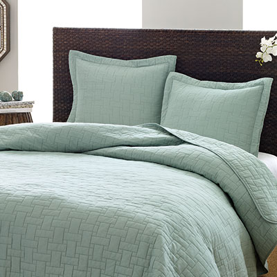 Tommy Bahama Aruba Blue Basket Weave Quilt Set