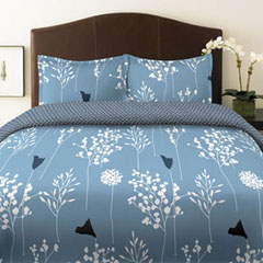Asian Lilly Blue Comforter and Duvet Cover Sets