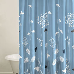 Asian Lilly Blue Shower Curtain