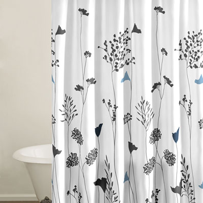Grey  White Bedding on Beddingstyle  Asian Lilly White Shower Curtain