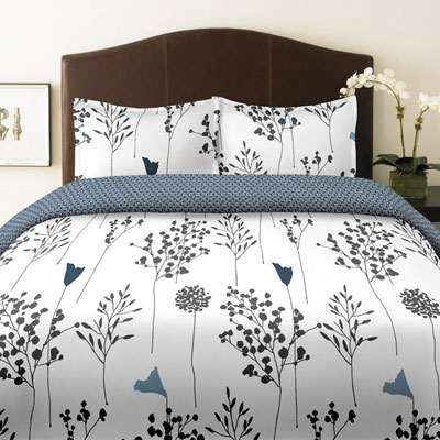 Perry Ellis Asian Lilly White Comforter and Duvet Cover Sets