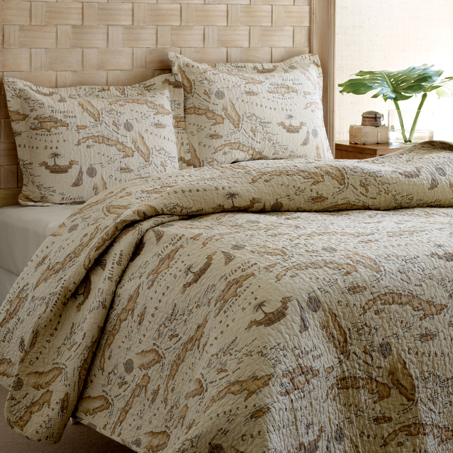 Full Queen Quilt Set Tommy Bahama Bahama Map