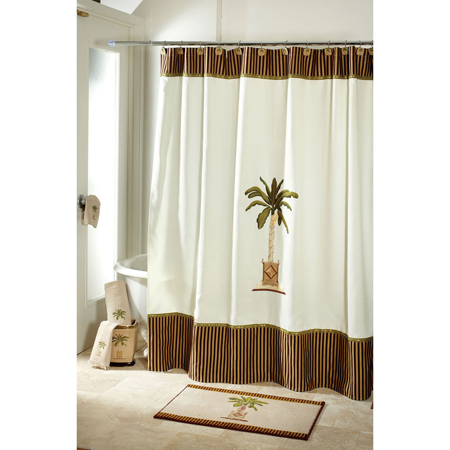 Coastal Shower Curtain Banana palm shower curtain
