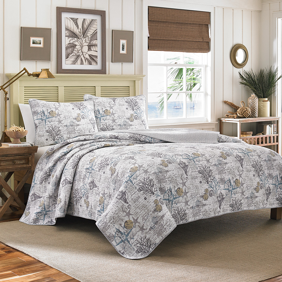 Tommy bahama beach bliss pelican grey quilt set from Tommy bahama bedding
