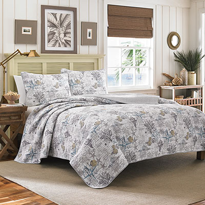 Tommy Bahama Beach Bliss Pelican Grey Quilt Set From