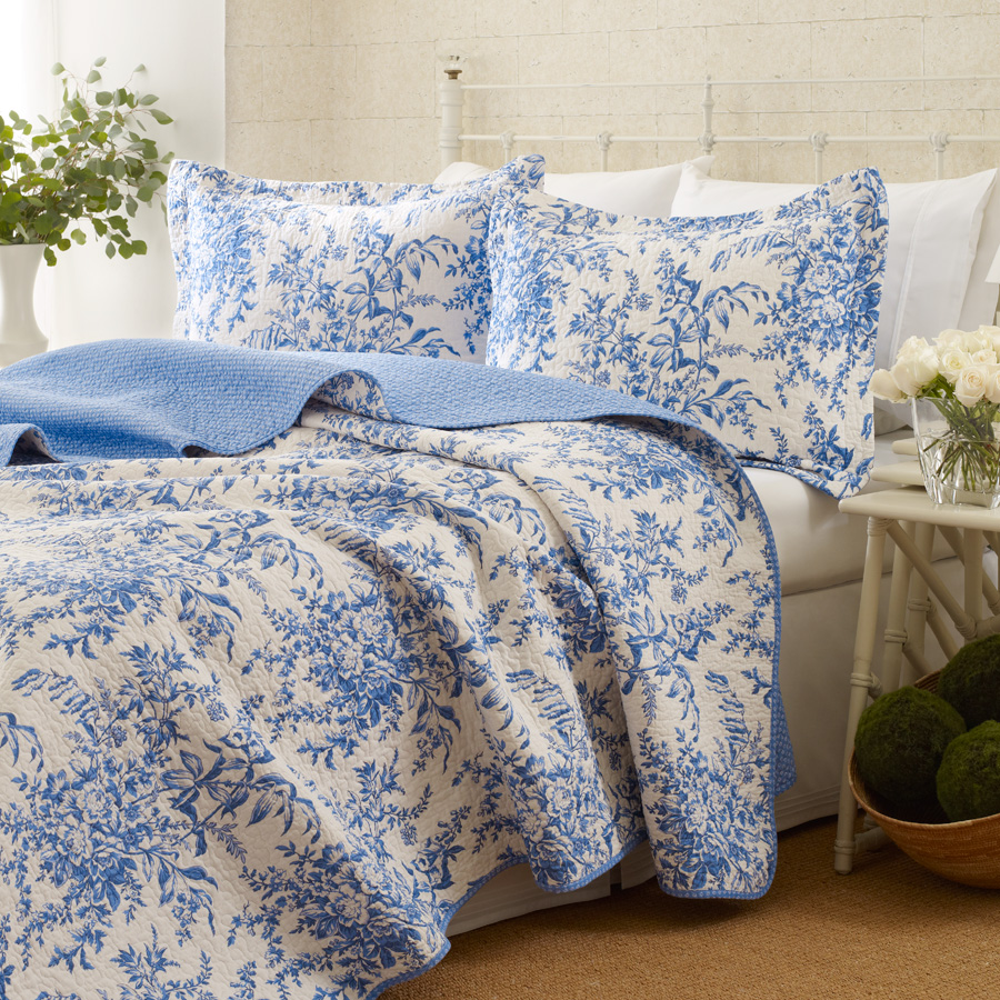 King Quilt Set Laura Ashley Bedford Blue