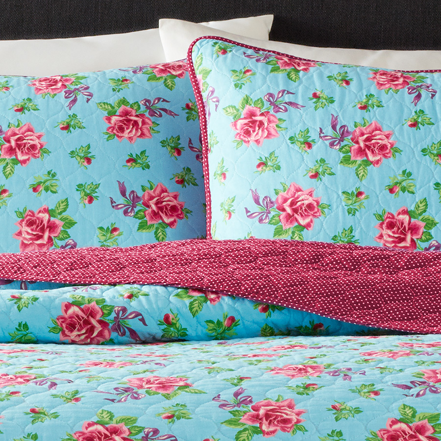Betsey Johnson Bow Floral Light Blue Quilt Set From