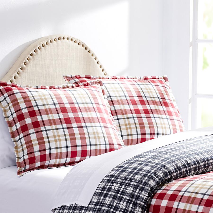 City Scene Bran Plaid Red White Comforter And Duvet Set
