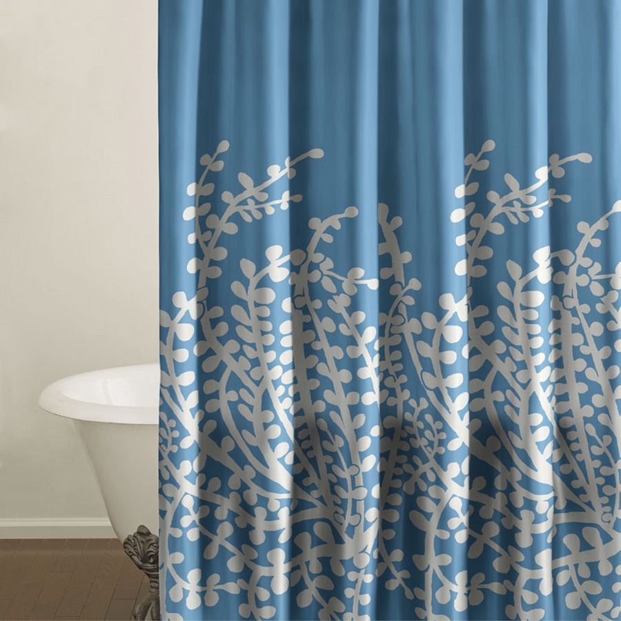 City Scene Branches French Blue Shower Curtain from Beddingstyle.com