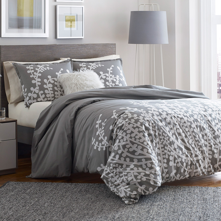 City scene branches gray comforter and duvet set from for Bed settings