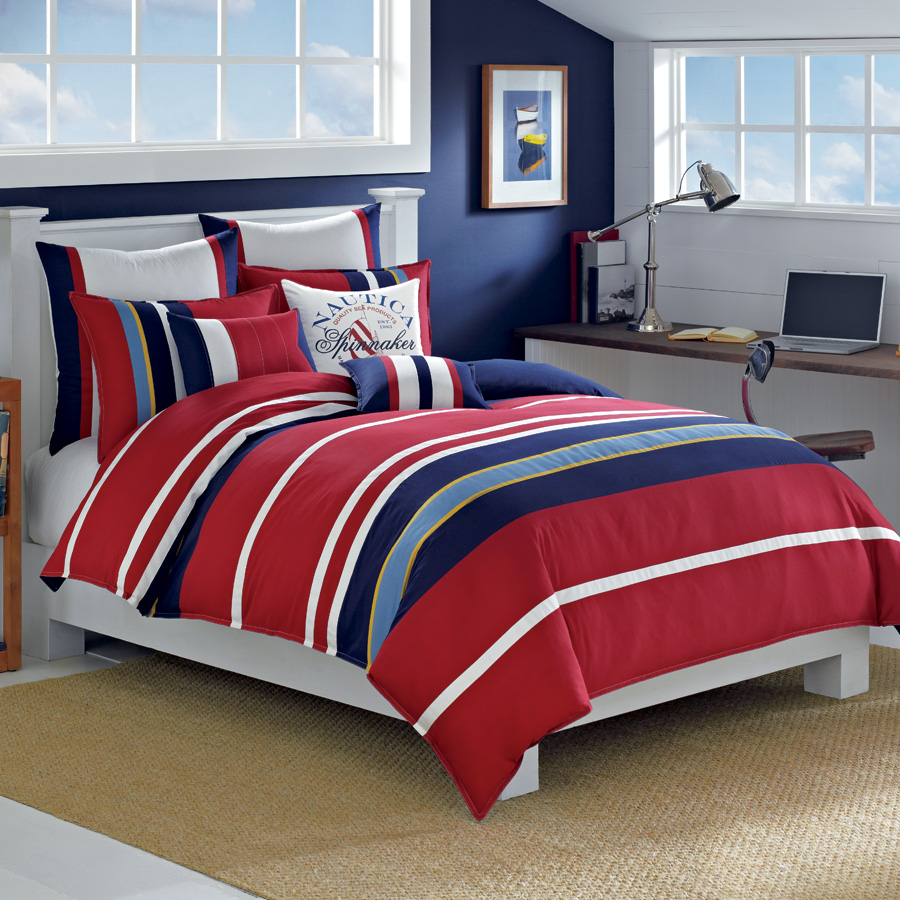 Nautica brant point 3pc king comforter sham set nip ebay - Red white and blue sheets ...