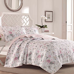 Laura Ashley Breezy Floral Pink Grey Quilt Set