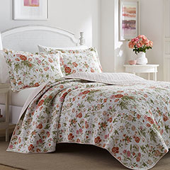 Laura Ashley Breezy Floral Coral Pink Quilt Set