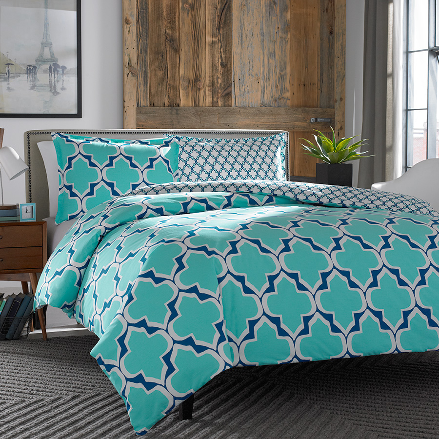 City Scene Brodie Teal Comforter And Duvet Set From