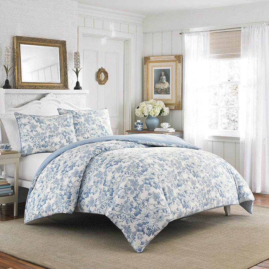 Laura Ashley Brompton Sophia Blue Comforter And Duvet Set