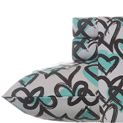 Teen Vogue Brushed Hearts Flannel Sheet Set