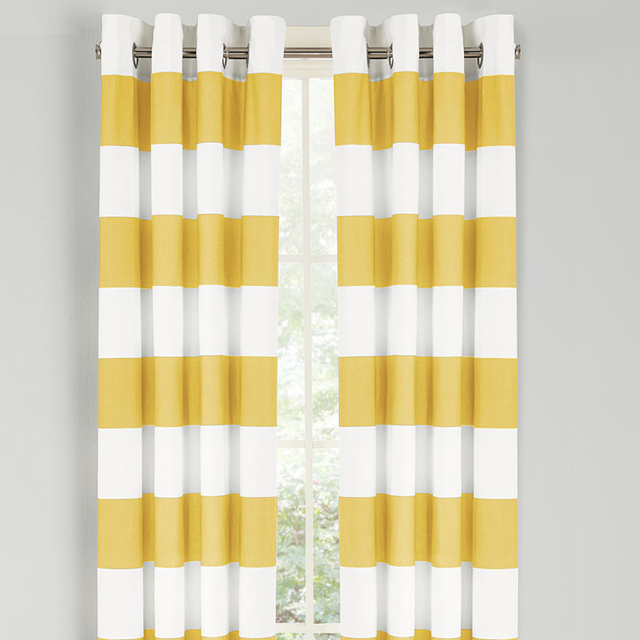 Nautica Cabana Stripe Yellow Drapes From