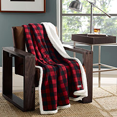 Eddie Bauer Cabin Plaid Red Throw Blanket