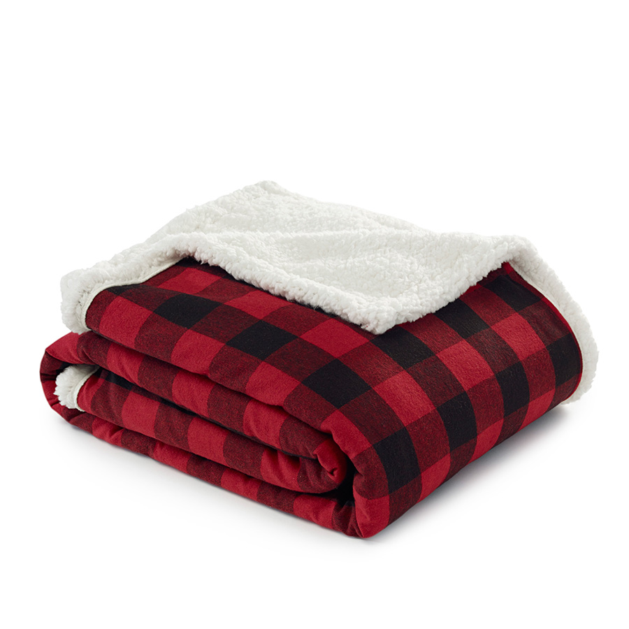 Eddie Bauer Cabin Plaid Red Throw Blanket From