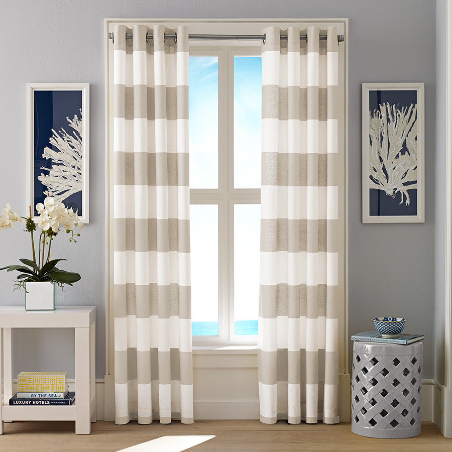 Pair of Drapes Nautica Cabana Stripe Light Beige