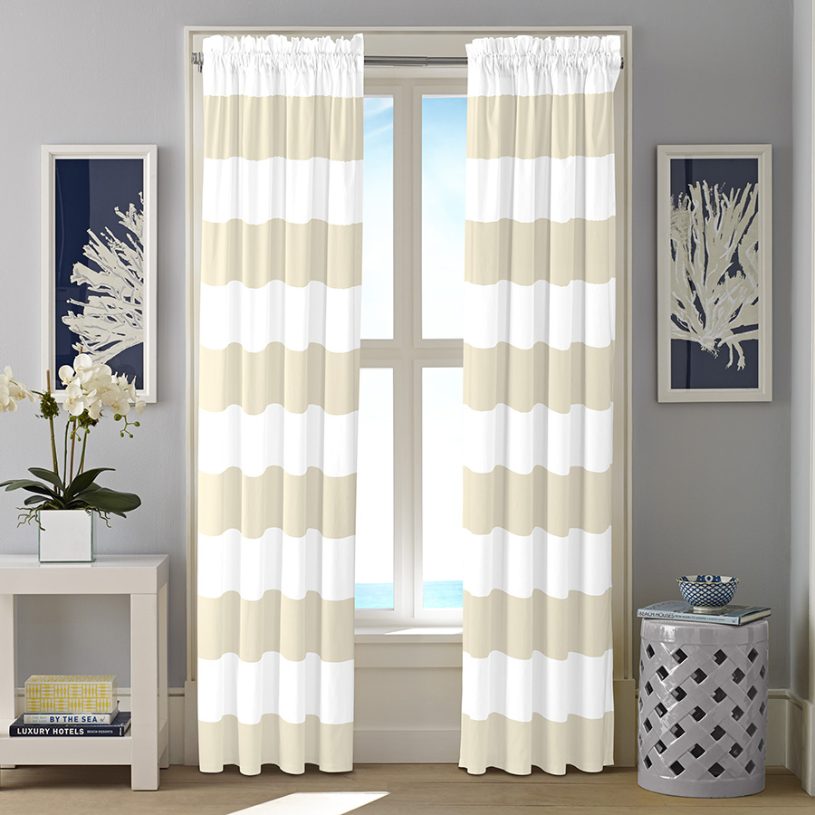 Pair of Drapes Nautica Cabana Stripe Twine