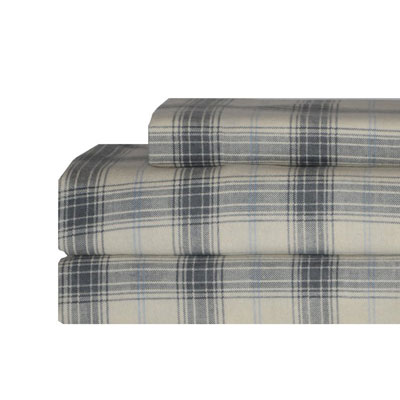 Eddie Bauer Cascade Plaid Sky Flannel Sheet Set