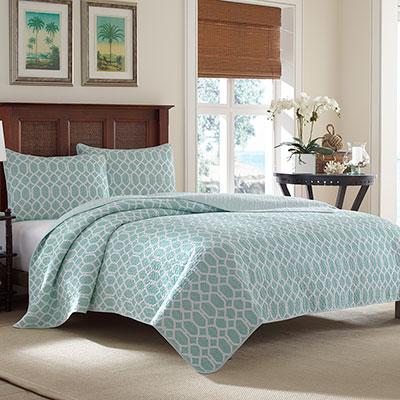 Tommy Bahama Catalina Trellis Harbor Blue Quilt Set From