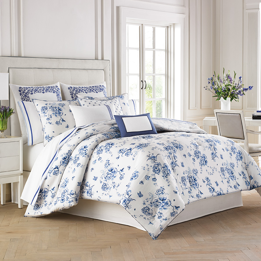 King Comforter Set Wedgwood China Blue Floral