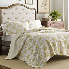 Laura Ashley Cielo Lemon Quilt Set