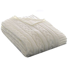 Eddie Bauer Cable Knit Ivory Throw
