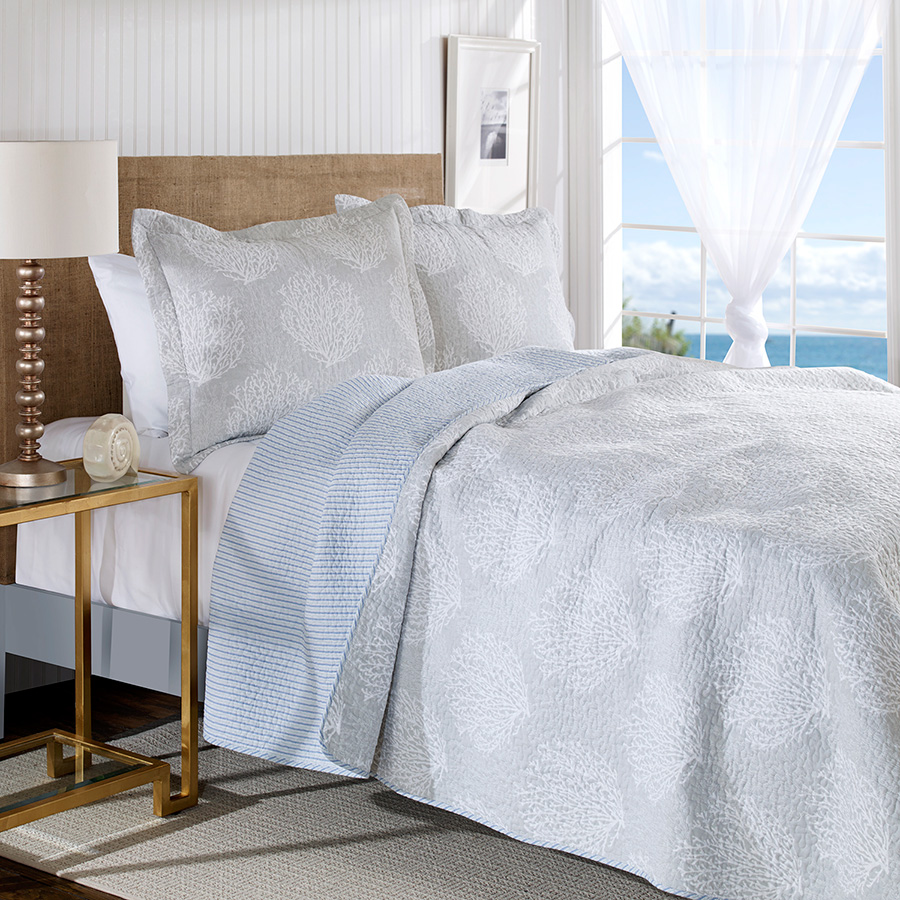 laura ashley coral coast gray quilt set from. Black Bedroom Furniture Sets. Home Design Ideas