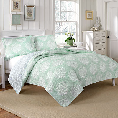 laura ashley coral coast mist quilt set from. Black Bedroom Furniture Sets. Home Design Ideas