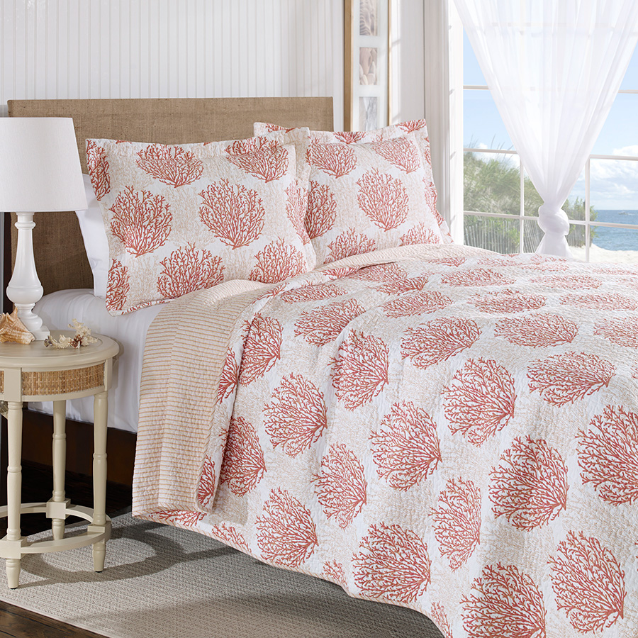 King Quilt Set Laura Ashley Coral Coast Coral