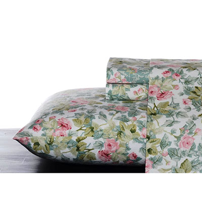 Laura Ashley Cottage Rose Flannel Sheet Set
