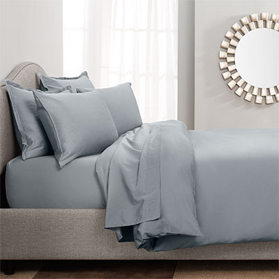 City Scene Dusty Blue Sateen Cotton Duvet & Sheet Sets