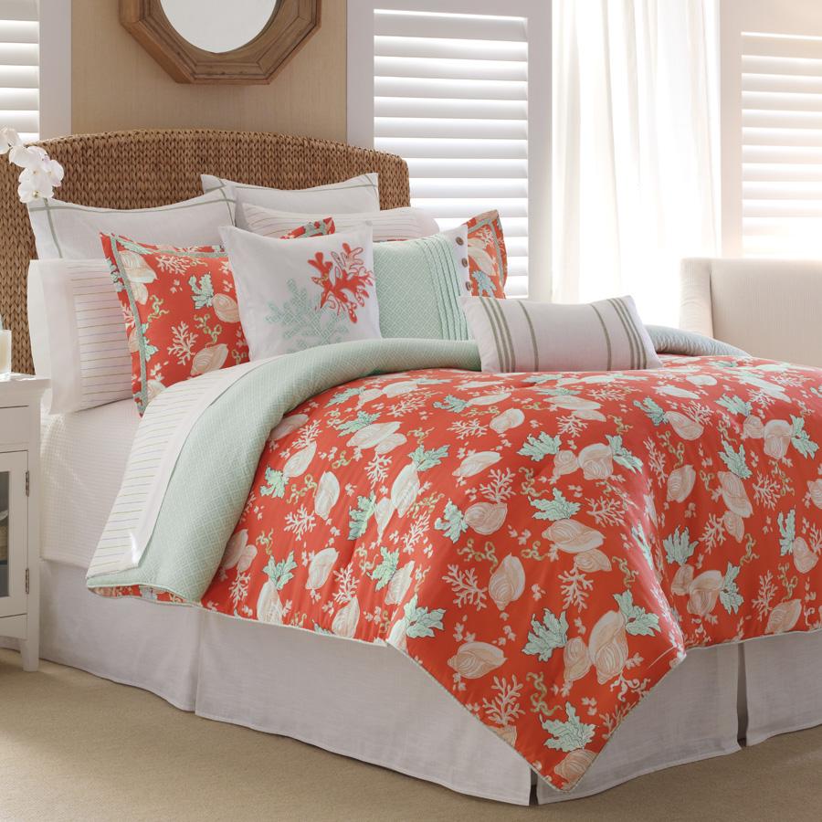 15 Pc Nautica Dana Point Queen Comforter Set Sheet Euro Drapery Pillows Coral