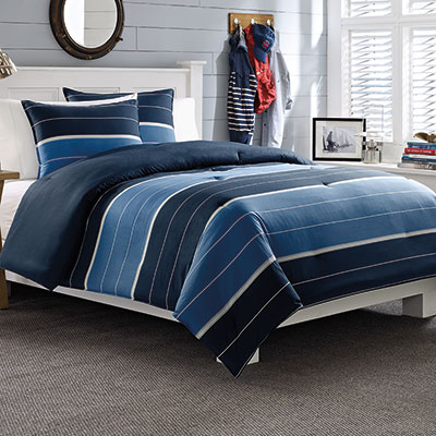Nautica Danbury Stripe Navy Comforter Set