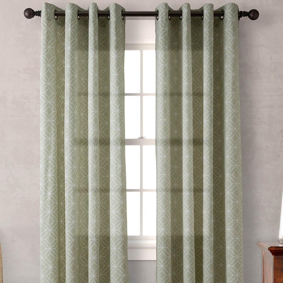 Pair of Drapes 52 x 96 Heritage Landing Diamond Geo Sage