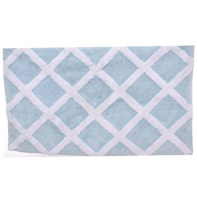 Laura Ashley Diamond Trellis Cottage Blue Bath Rug
